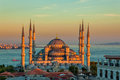 Blue mosque in istanbul in sunset glorius sultanahmet park the biggest of sultan ahmed ottoman empire Royalty Free Stock Photo