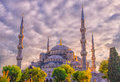 Blue mosque istanbul under the setting sun turkey Royalty Free Stock Photo