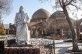 Blue mosque and khaqani poet statue tabriz iran Stock Photography