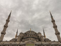 Blue mosque minarets istanbul view of the in turkey on cloudy day Royalty Free Stock Photo
