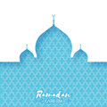 Blue Mosque. Origami Ramadan Kareem Greeting card