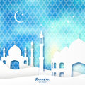 Blue mosque ramadan kareem greeting card with arabic arabesque pattern origami desert landscape crescent moon holy month of muslim Stock Photography