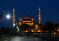 Blue mosque sultan ahmed mosque in istanbul at night turkey Royalty Free Stock Photos