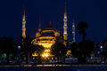Blue mosque sultan ahmed mosque in istanbul at night turkey Stock Photo