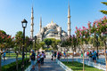 Blue Mosque, Sultanahmet Camii inner yard Royalty Free Stock Photo
