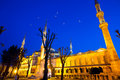 Blue mosque sultanahmet camii at night istanbul turkey Royalty Free Stock Photos