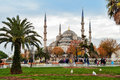 Blue Mosque, Sultanahmet Square in winter in rainy Royalty Free Stock Photo