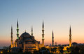 The blue mosque at sunset and its six minarets in istanbul turkey Royalty Free Stock Photo
