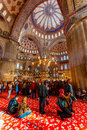 Blue mosquee interior Royalty Free Stock Photo