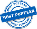 Blue most popular tag stamp vector Stock Photos