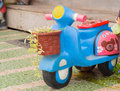 Blue Motorcycle made of  baked clay. Royalty Free Stock Photo