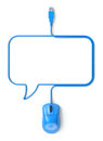Blue mouse and cable in the shape of speech bubble d illustration Royalty Free Stock Photos