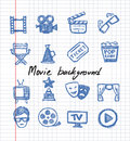 Blue movie icon set vector on white paper Royalty Free Stock Photography