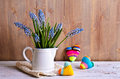 Blue muscari flowers on wooden background Royalty Free Stock Images