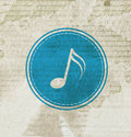 Blue music note on grunge paper symbol Stock Photo