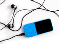 Blue music player on a white background Royalty Free Stock Photo