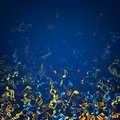Blue musical background with notes.