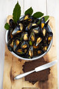 Blue mussels with pumpernickel bread Royalty Free Stock Photos