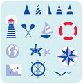 Blue nautical and sailor icons Royalty Free Stock Photo