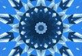 Blue navy kaleidoscope pattern abstract background. Circle pattern. Abstract fractal kaleidoscope background. Abstract fractal pat Royalty Free Stock Photo