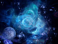 Blue nebula and planet Royalty Free Stock Image