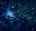 Blue nebula stars background deep space with nebulae and bright Royalty Free Stock Image