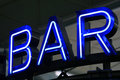 Blue Neon Advertising Bar Stock Image