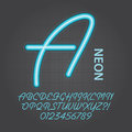 Blue neon alphabet and numbers vector set of Royalty Free Stock Photo