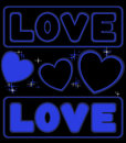 Blue neon card with inscription and sparkling hearts Stock Images
