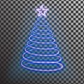 Blue neon Christmas tree. Light tree effect with big star Royalty Free Stock Photo