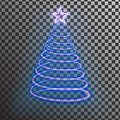 Blue neon Christmas tree. Light tree effect with big Yellow star and sparkle isolated on transparen Royalty Free Stock Photo