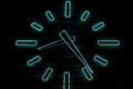 Blue neon huge clock Royalty Free Stock Photo