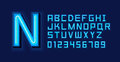 Blue Neon Light Alphabet Font Royalty Free Stock Photo