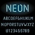 Blue neon light alphabet Royalty Free Stock Photo