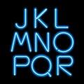 Blue neon light glowing letters set