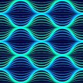 Blue neon waves seamless pattern.. Background with glowing 80s retro vapor wave style