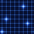 Blue net or grid with shinning stars - seamless background Royalty Free Stock Photo
