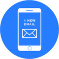 Blue new email design in a flat round button