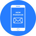 Blue new message design in a flat round button