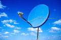 Blue new satellite dish with sky Royalty Free Stock Photo