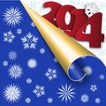 Blue new year s background with the twirled corner and red figures Royalty Free Stock Photo
