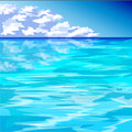 Blue ocean and cloudy blue sky vector art of Royalty Free Stock Photos
