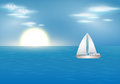 Blue ocean with sailing boat vector summer illustration of beautiful Royalty Free Stock Photography