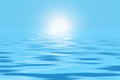 Blue ocean and sunlight dark illustration Royalty Free Stock Photo
