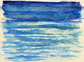 Blue ocean under skies watercolor illustration Stock Image