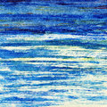 Blue ocean under skies watercolor illustration Royalty Free Stock Photos