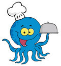Blue octopus chef Royalty Free Stock Photo