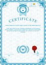 Blue official guilloche certificate and red wafer