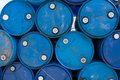 Blue oil barrels Royalty Free Stock Photo
