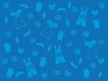 Blue oktoberfest background, light blue symbols of lederhosen, dirndl, beer, pretzel, edelweiss Royalty Free Stock Photo